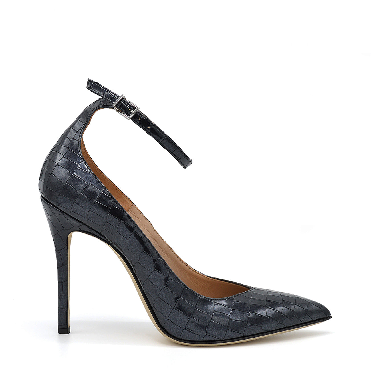 Lyve. <br> Ankle strap black crocodile embossed calf leather pumps