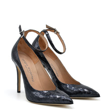 Load image into Gallery viewer, Lyve. <br> Ankle strap black crocodile embossed calf leather pumps
