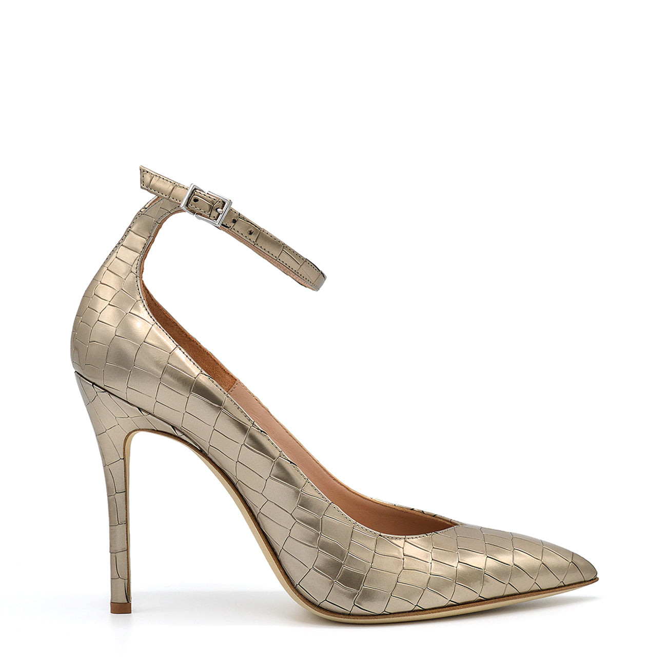 Lyve. <br> Ankle strap platinum crocodile embossed calf leather pumps