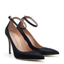 Load image into Gallery viewer, Lyve. <br> Ankle strap black vinil pumps