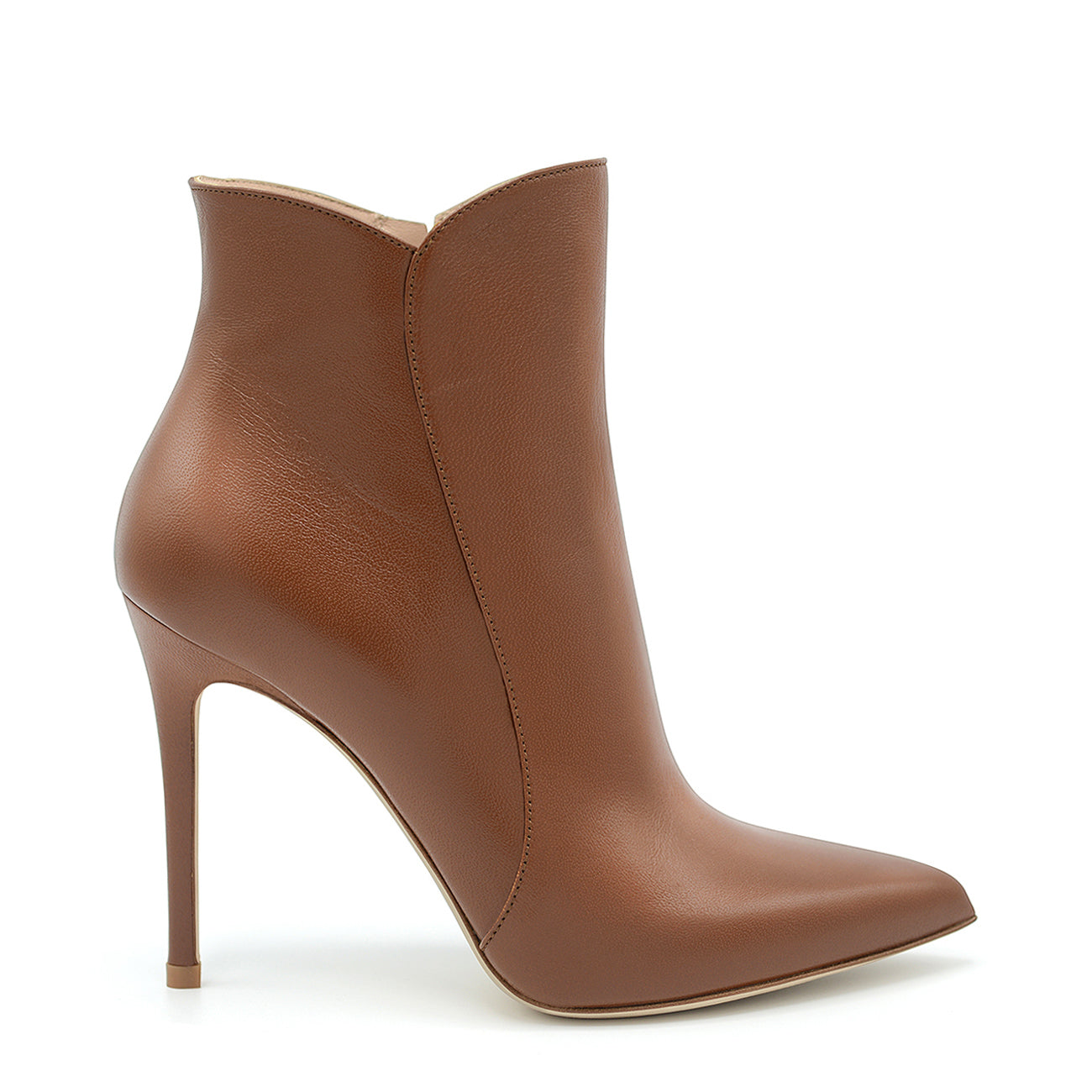 Margy. <br> High-heel fox brown nappa leather ankle boots