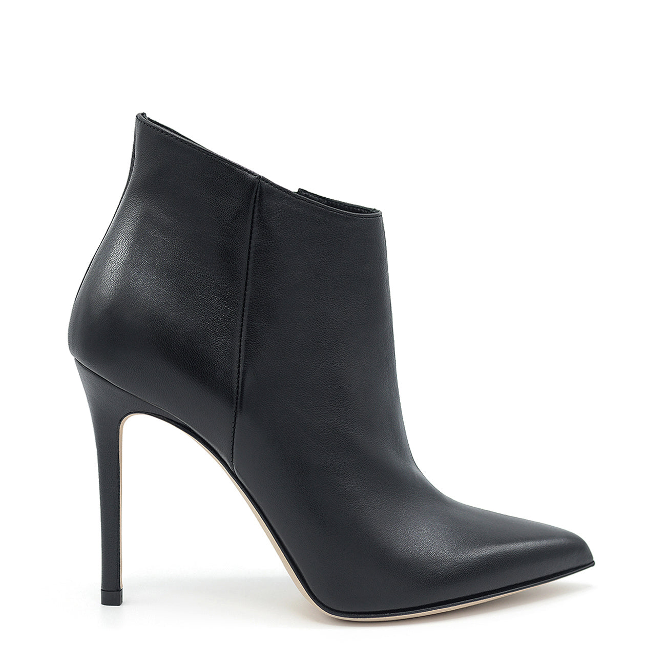 Melody. <br> Timeless high-heel black nappa leather ankle boots