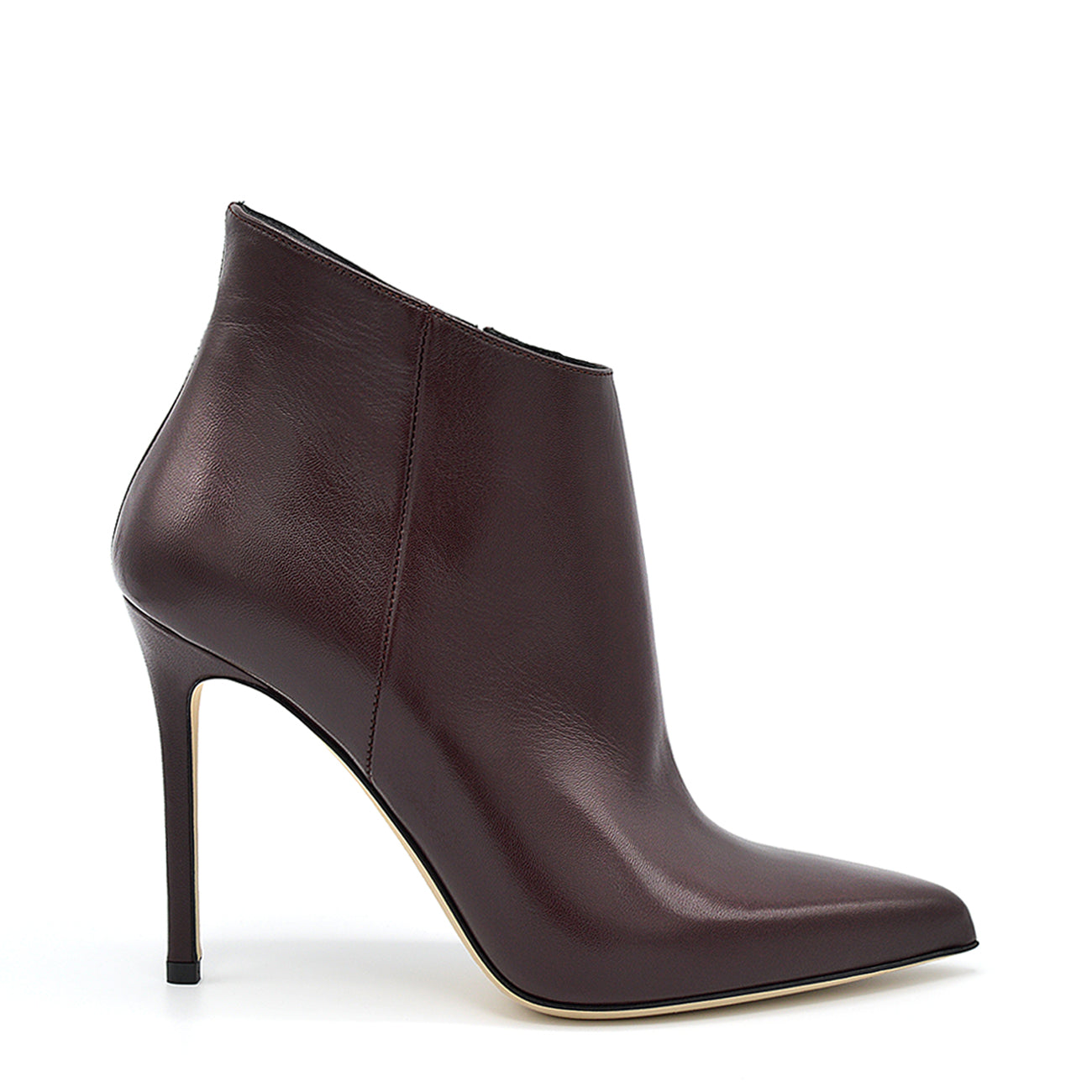 Melody. <br> High-heel wine nappa leather ankle boots