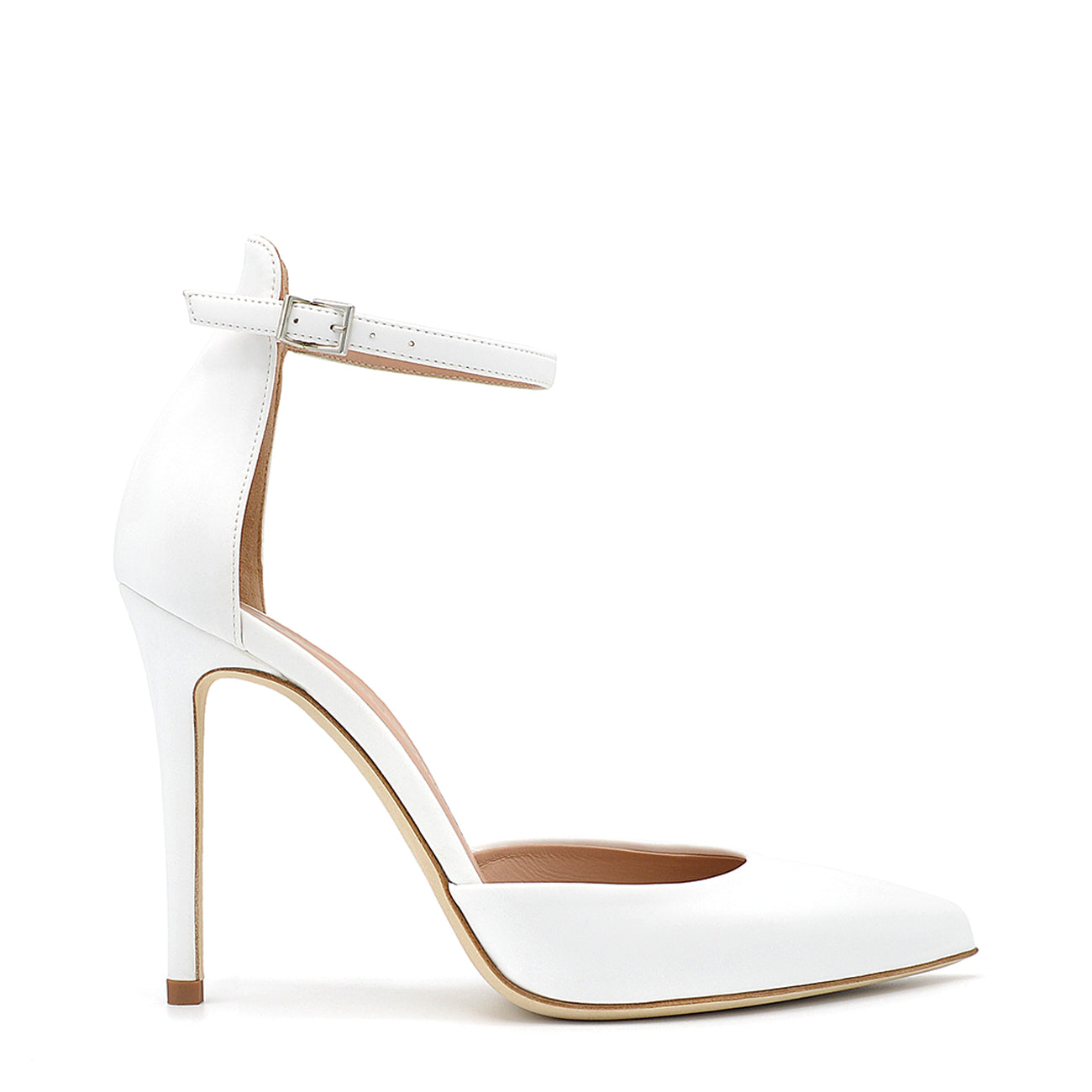 Mery. <br> Ankle strap white vinil pumps
