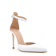 Load image into Gallery viewer, Mery. <br> Ankle strap white nappa leather pumps