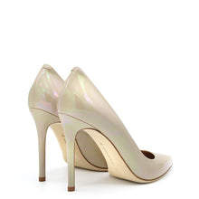 Load image into Gallery viewer, Myss. <br> Chenille beige petrol natural leather pumps
