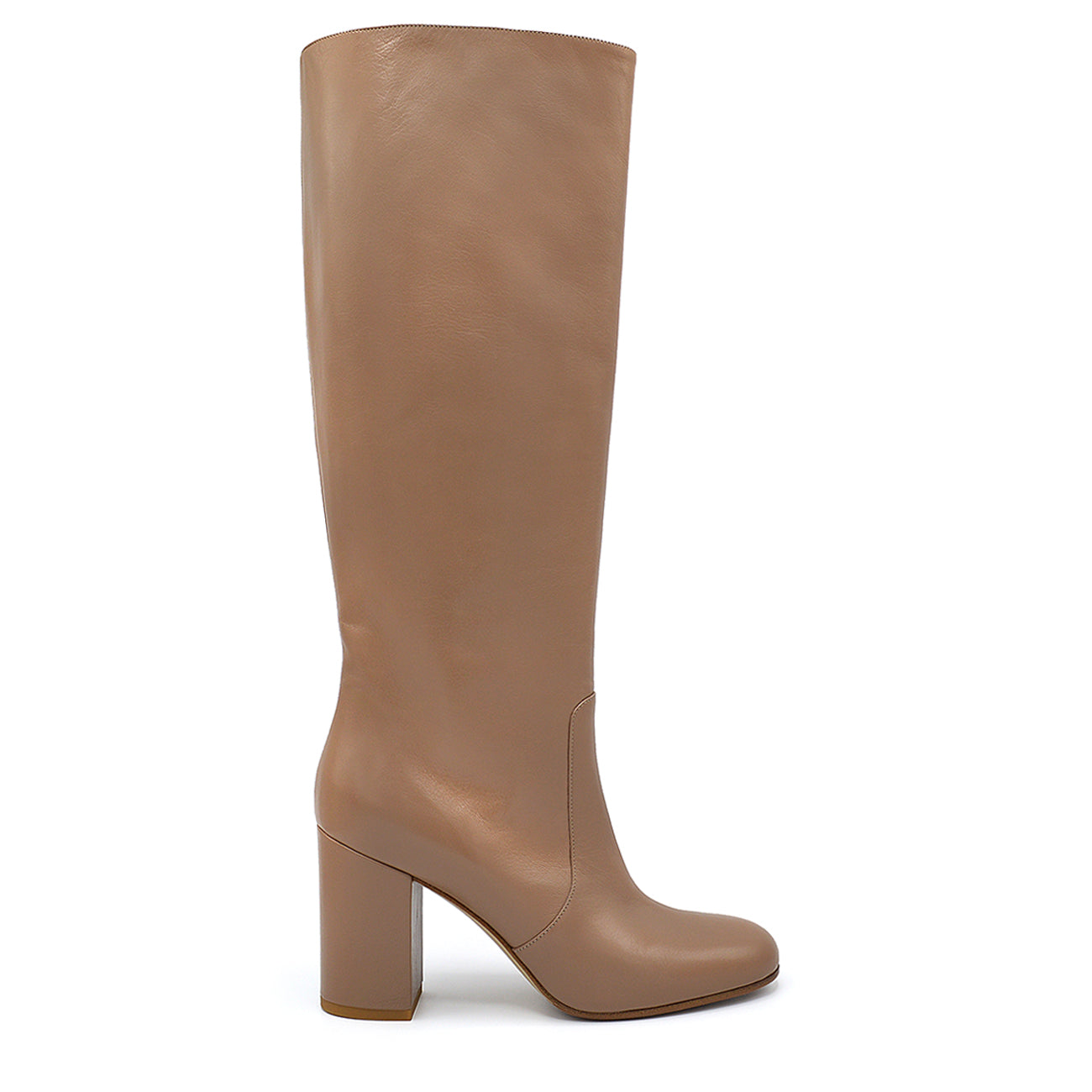 Nikyta. <br> Bardon beige nappa leather knee-high boots