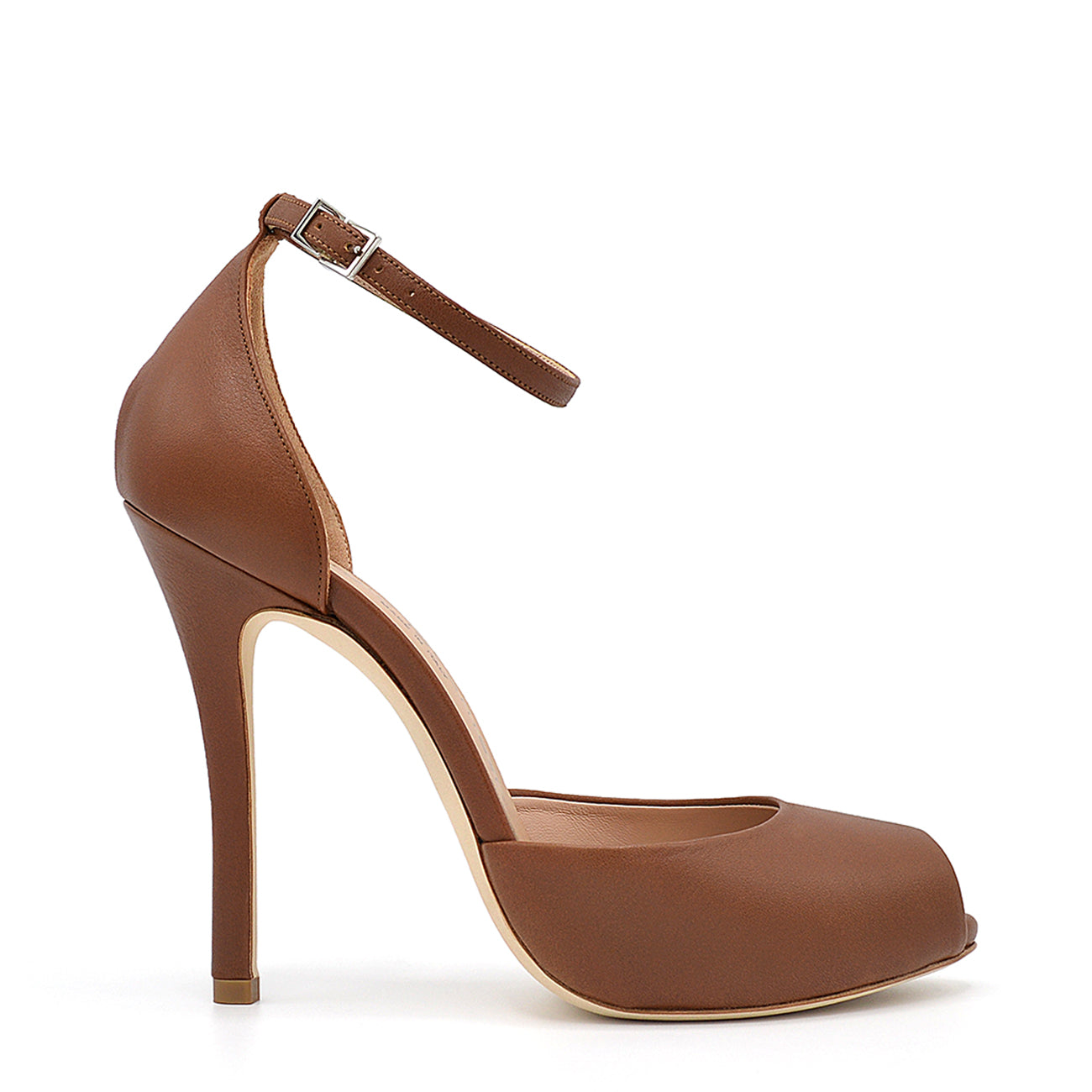 Petra. <br> Ankle strap stiletto heel fox brown nappa leather platform sandals