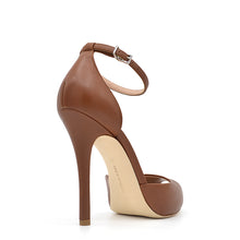 Load image into Gallery viewer, Petra. <br> Ankle strap stiletto heel fox brown nappa leather platform sandals