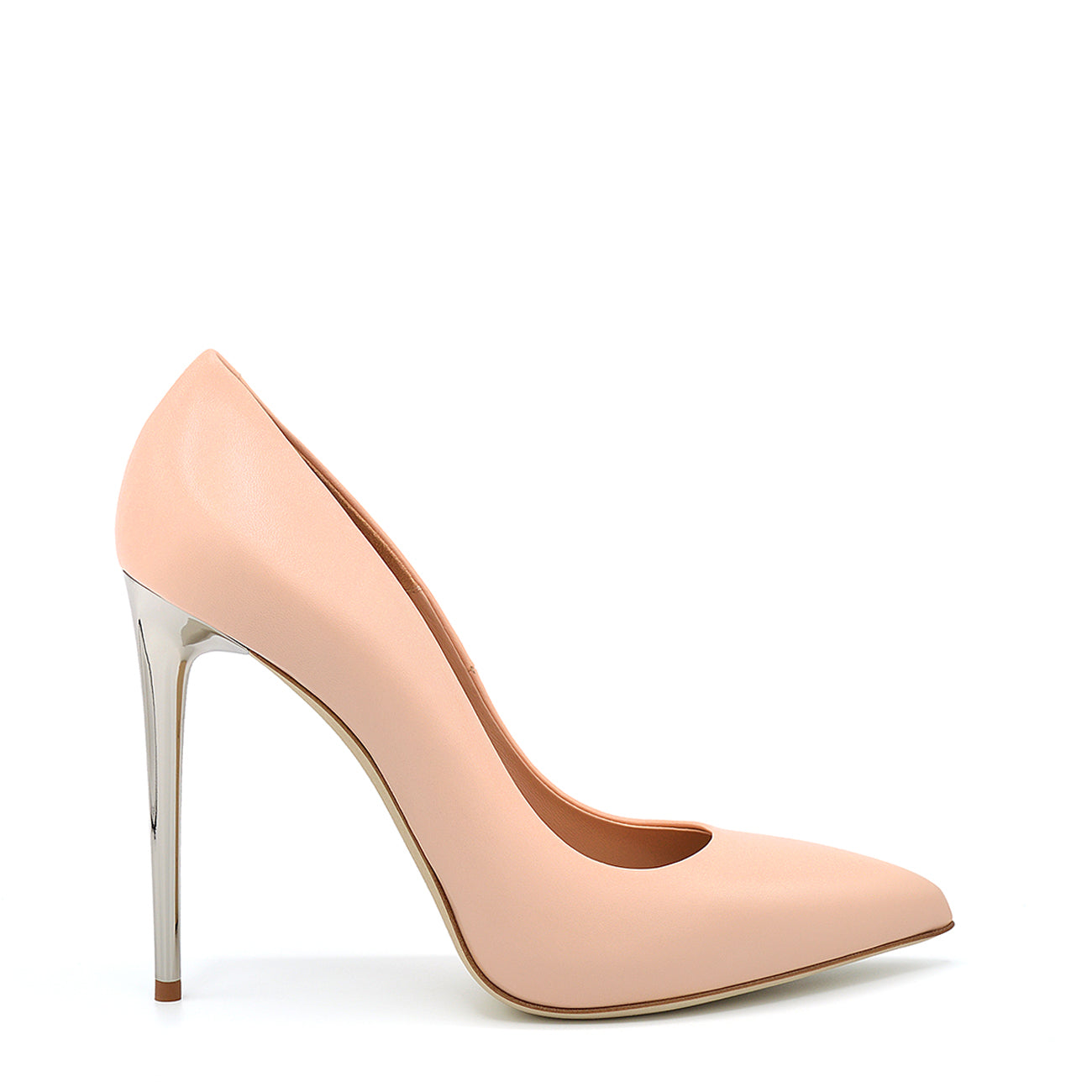 Queen. <br> Timeless stiletto heel shell pink calfskin pumps