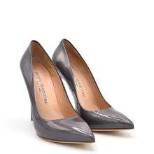 Load image into Gallery viewer, Queen. <br> Stiletto heel steel gray patent leather pumps