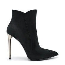 Load image into Gallery viewer, Quixy. <br> Stiletto heel black alfa suede ankle boots