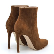 Load image into Gallery viewer, Tylor. <br> High-heel cognac brown suede ankle boots