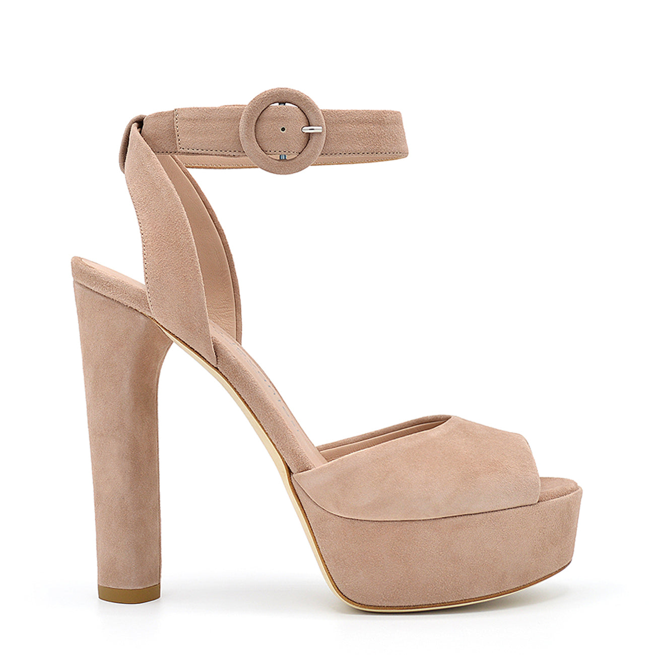 Viky. <br> High-heel natural suede platform sandals
