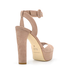 Load image into Gallery viewer, Viky. <br> High-heel natural suede platform sandals