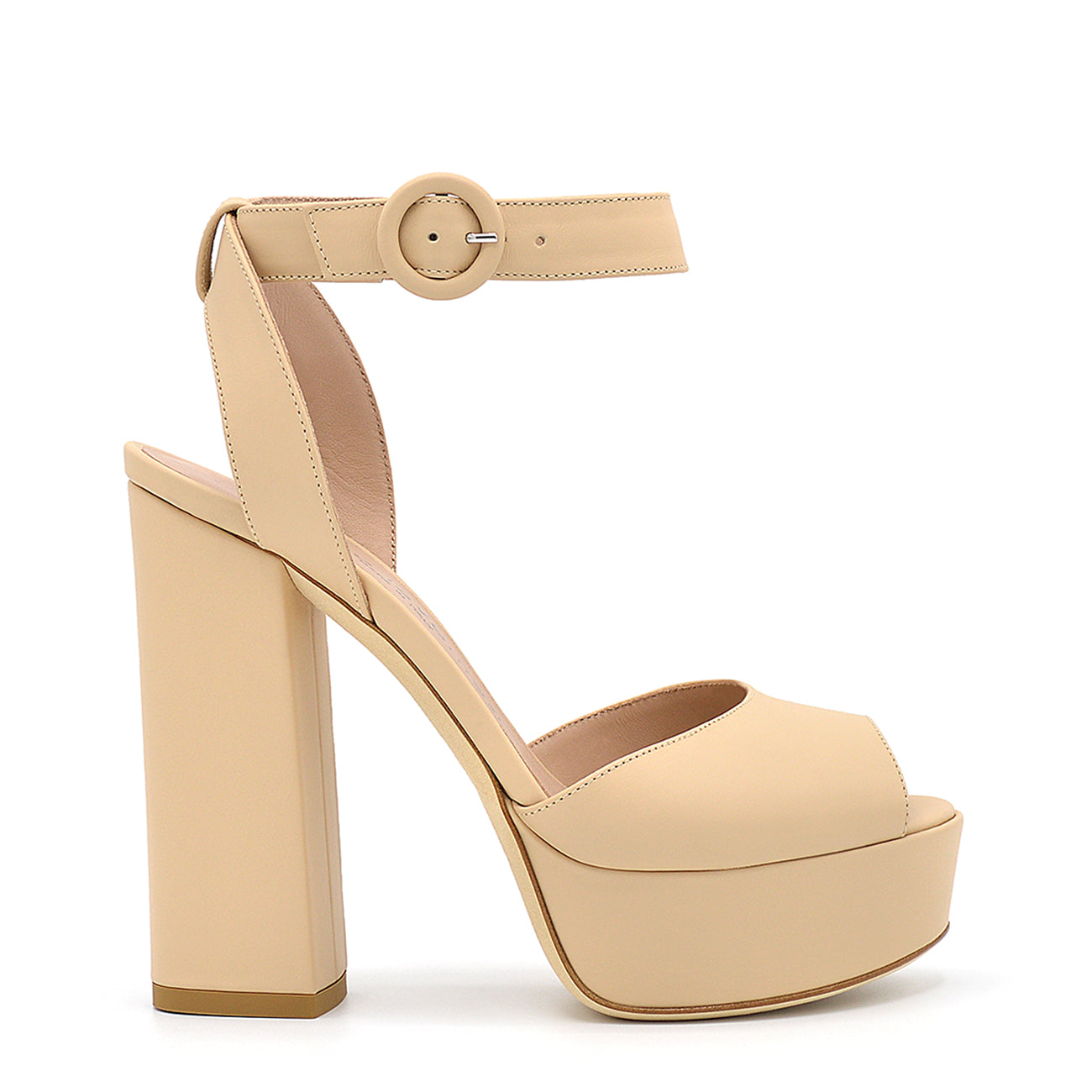 Vishy. <br> Timeless high-heel sand beige calfskin platform sandals