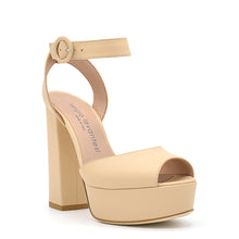Load image into Gallery viewer, Vishy. <br> Timeless high-heel sand beige calfskin platform sandals