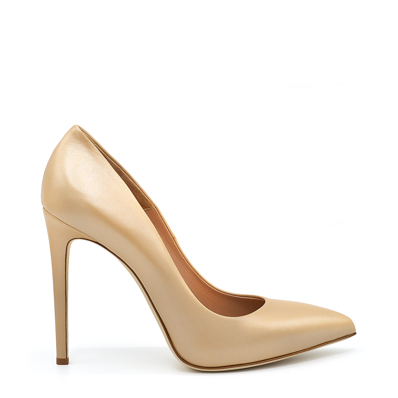 Xena. <br> Stiletto heel juta beige pearly palit leather pumps