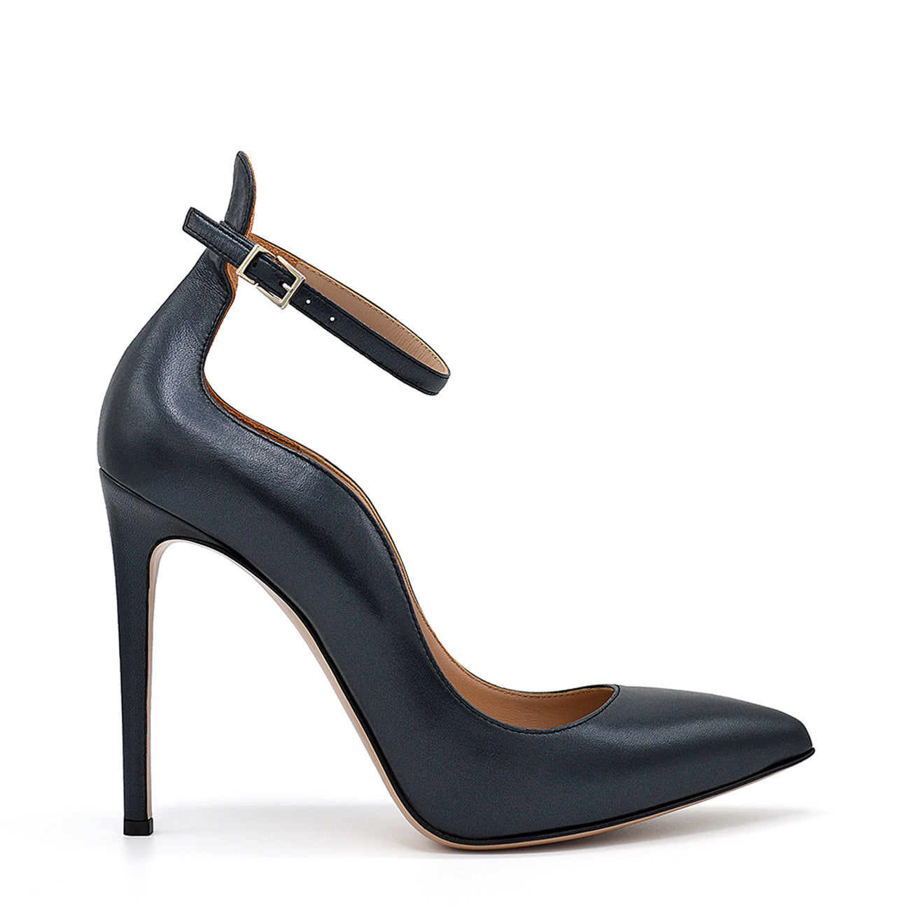Xilian. <br> Ankle strap stiletto heel black pearly calfskin pumps