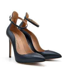 Load image into Gallery viewer, Xilian. <br> Ankle strap stiletto heel black pearly calfskin pumps