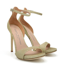 Load image into Gallery viewer, Zara. <br> Timeless ankle strap platinum calfskin platform sandals