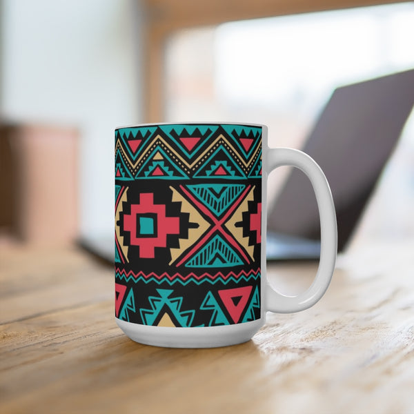 Tribal Vintage Ethnic Seamless White Ceramic Mug