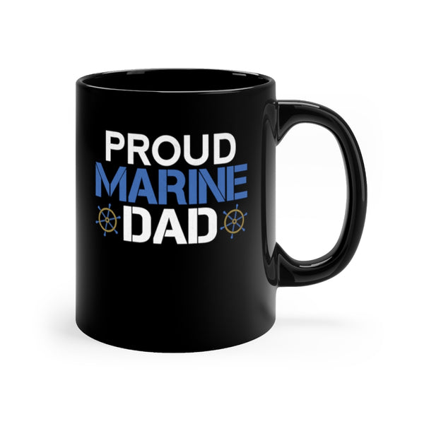 Proud Marine Dad Black Mug 11oz