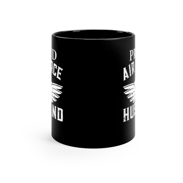 Proud Air Force Husband Black Mug 11oz