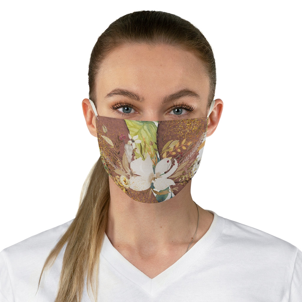 White Floral Fabric Face Mask