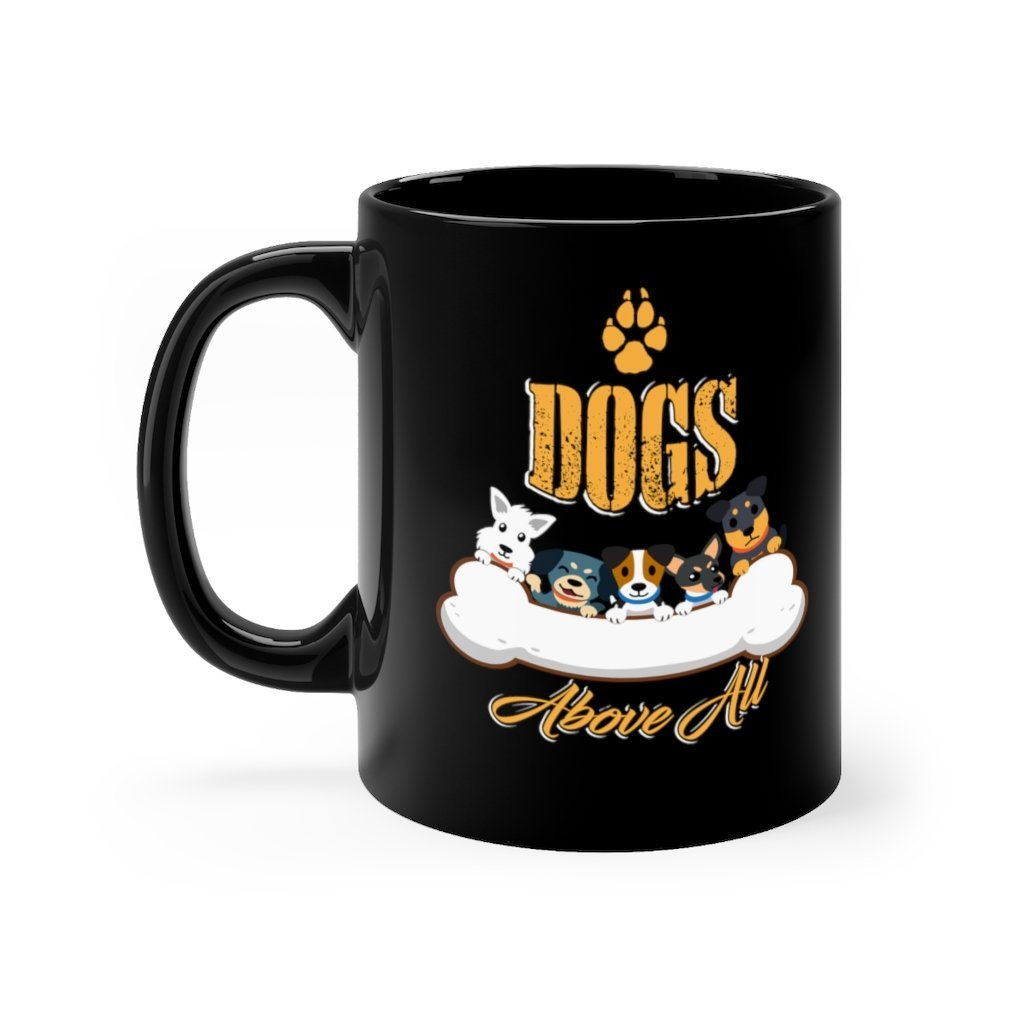 Happiness Has Four Legs Black Mug 11oz Printify