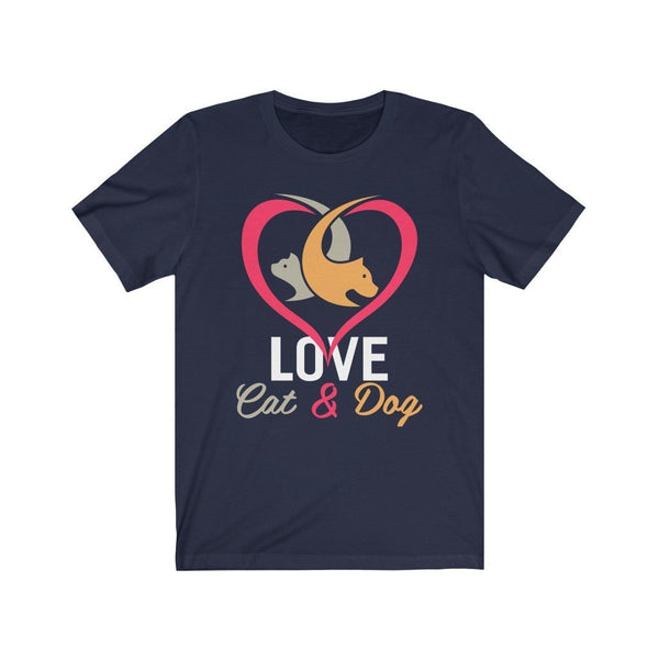 Love Cat And Dog Unisex Jersey Short Sleeve Tee Printify