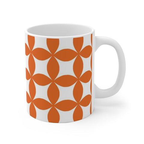 Orange Pattern White Ceramic Mug Printify