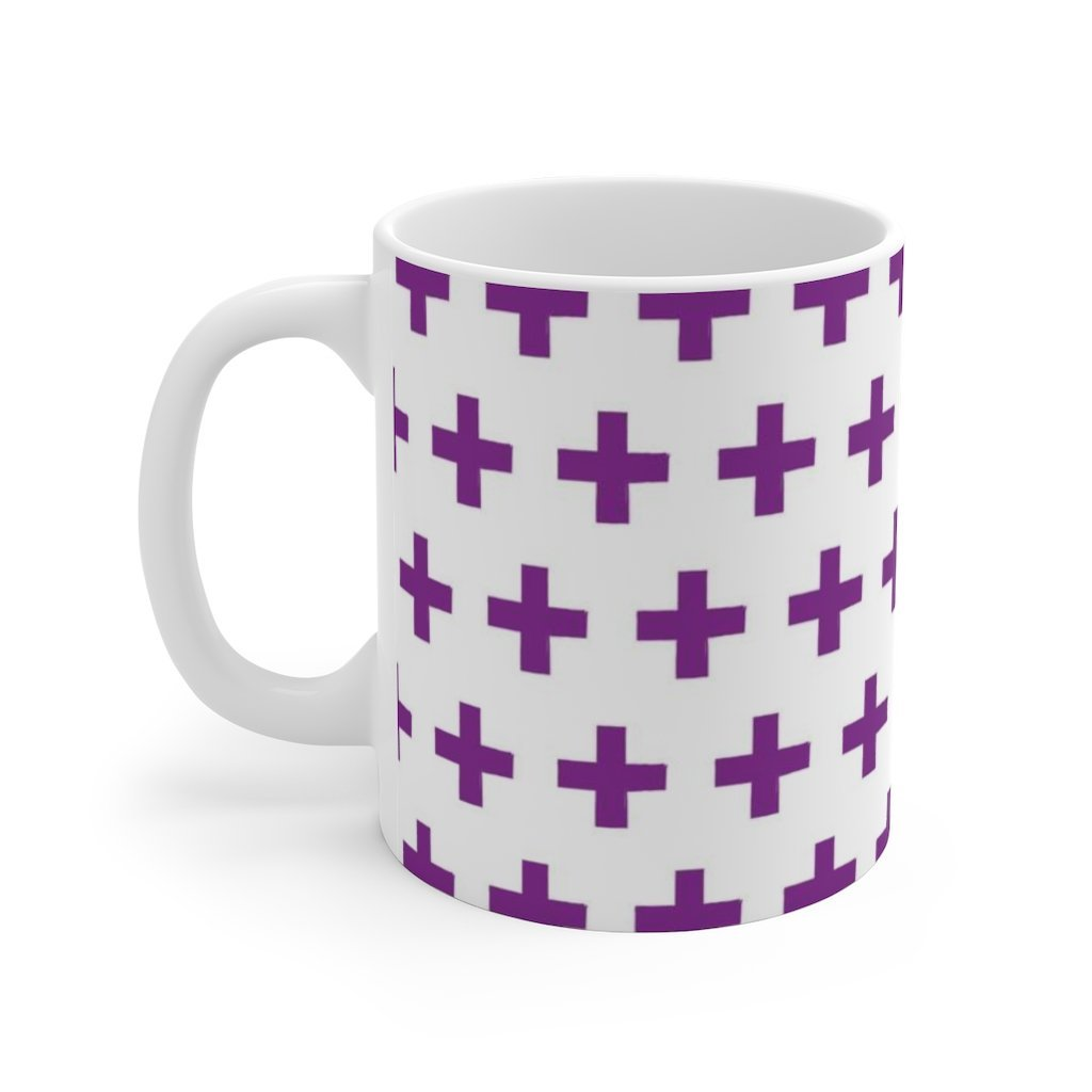 Purple Pattern Novelty White Ceramic Mug Printify