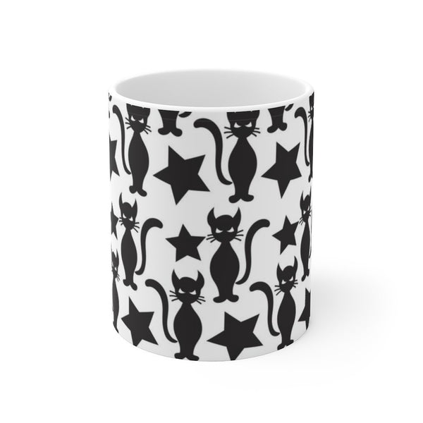 Starry Cat White Ceramic Mug Printify