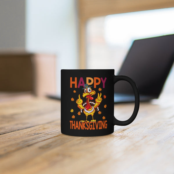 Happy Thanksgiving Black Mug 11oz
