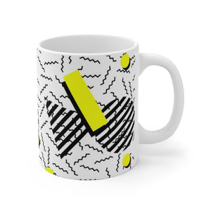 Retro Vintage 80s Fashion Style White Ceramic Mug