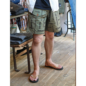 JOHN GLUCKOW Windproof Shorts in Stencil Fabric オリーブ [JG52325]