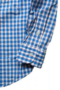 Porter Classic - ROLL UP TRICOLOR GINGHAM CHECK SHIRT ポータークラシック ロールアップ トリコロール ギンガムチェック シャツ - BLUE [PC-016-1314]