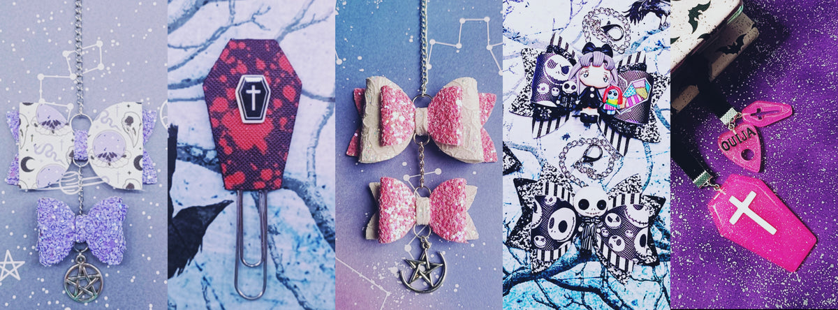 Planner bow clips charms and accessories. Spooky, witchy and girly planner accessories.
