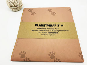 Paw Prints Gift Wrap - Recycled Kraft Paper