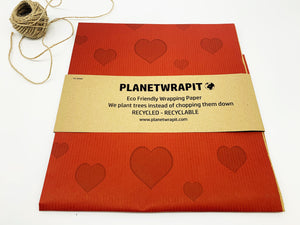 Hearts Gift Wrap - Recycled Kraft Paper