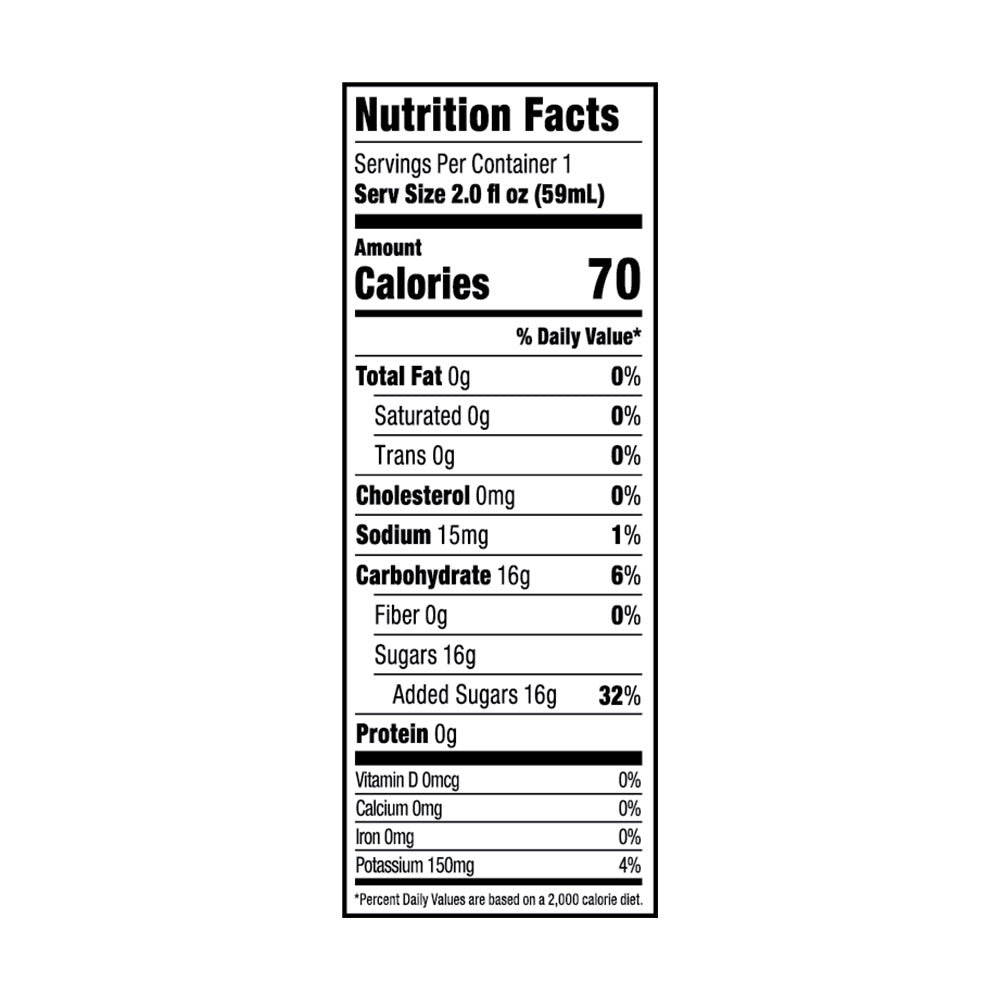 GLUKOS Lemon-Lime Nutrition Facts For 1 Serving