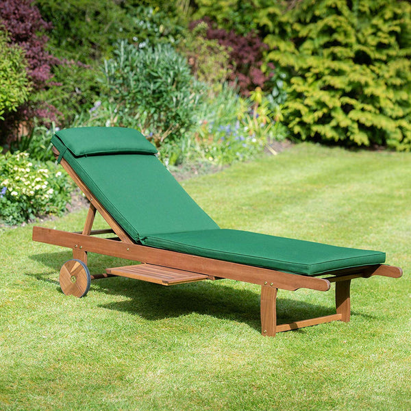 Reclining Hardwood Sun Lounger with Luxury Cushion