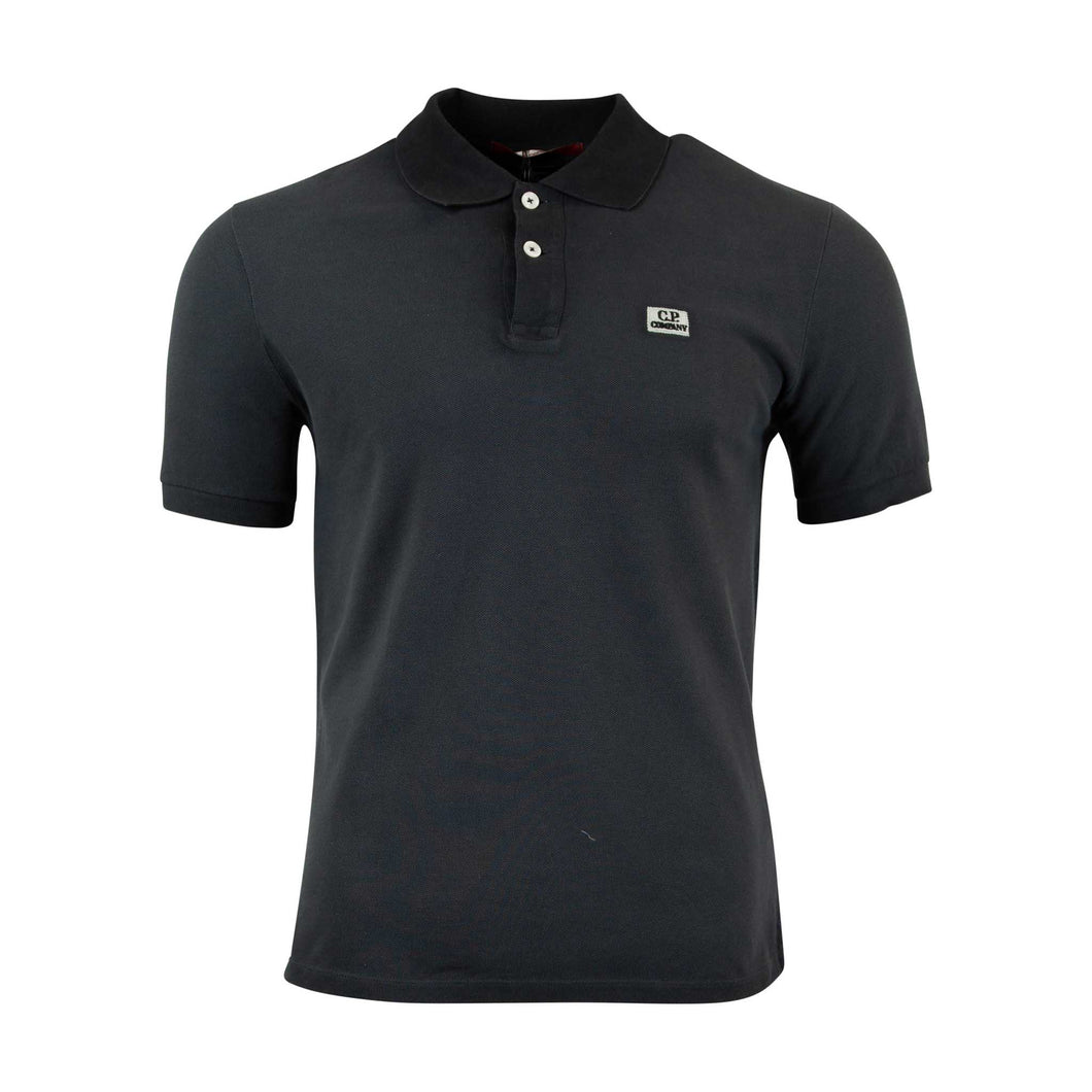 CP Company Re-Colour Regular Fit Short Sleeve Polo Shirt In Charcoal