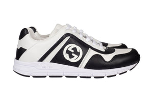 Gucci Leather Low Top Trainers In Black & White