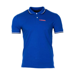 Prada Short Sleeve Polo Shirt In Blue