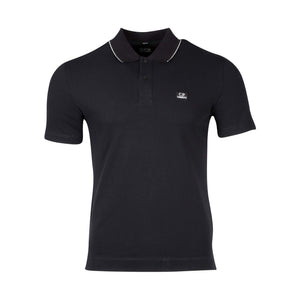 CP Company Slim Fit Short Sleeve Polo Shirt In Navy