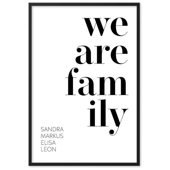 we are family - Personalisiertes Namens-Poster für Familien - DankeServas