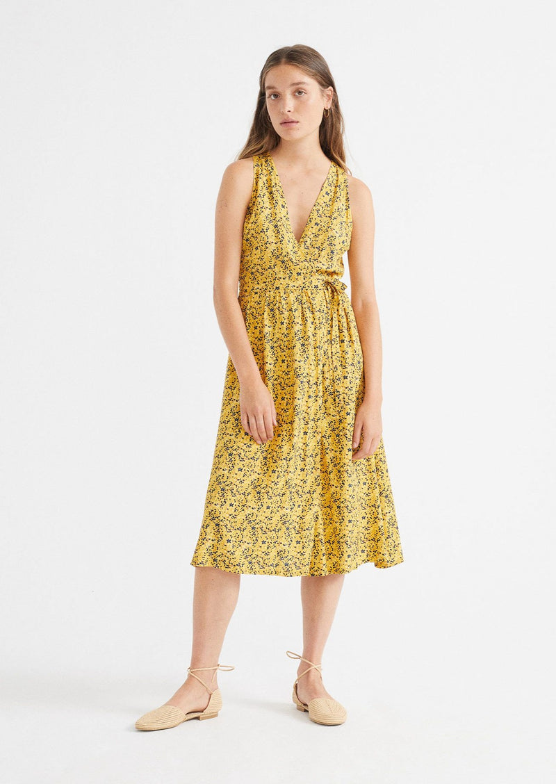 thinking mu amapola dress multiflowers mustard