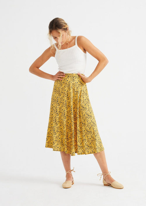 thinking mu lavanda skirt multiflowers mustard